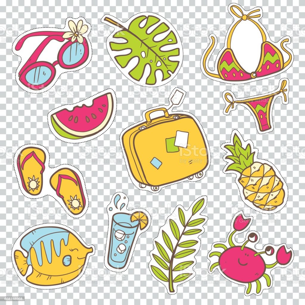 Vector cute doodle collection of summer stickers. The sea vacati vector art illustration