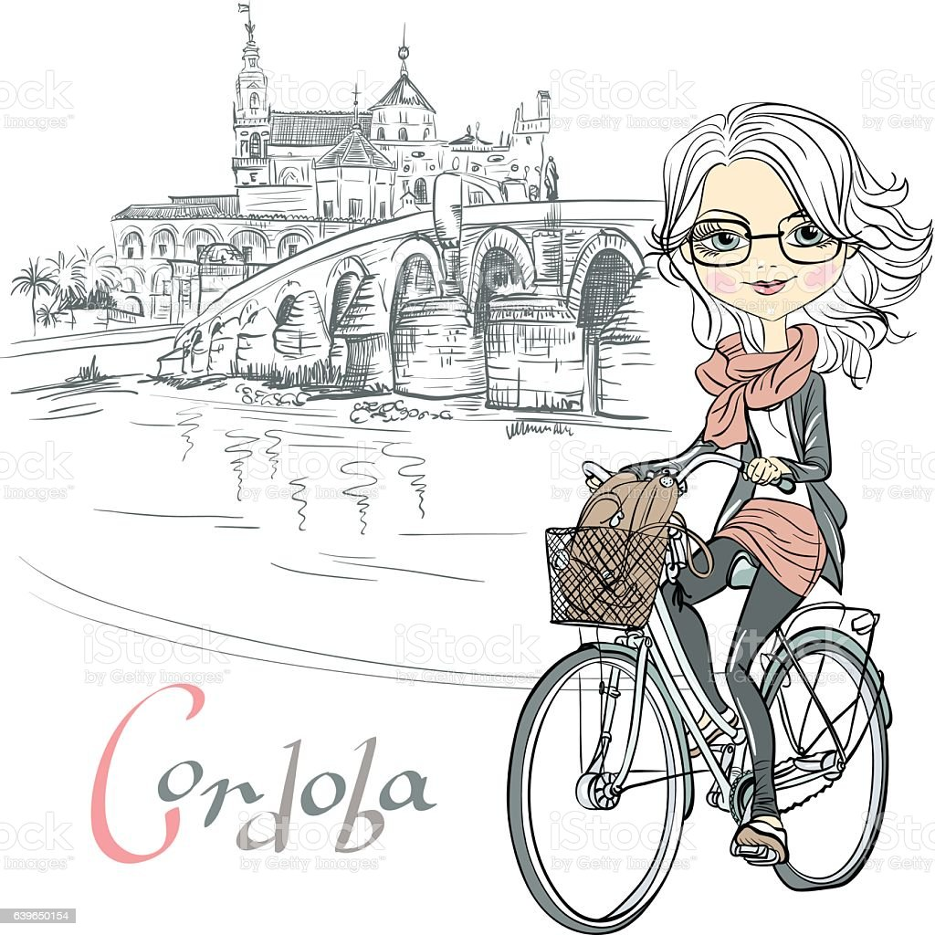Vector cute girl rides a bicycle in Cordoba vector art illustration