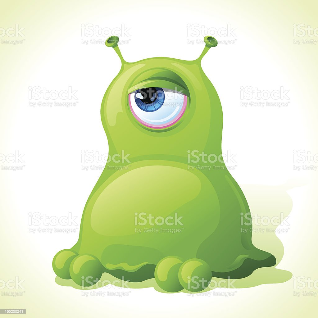 Vector cute green monster isolated on white background. vector art illustration