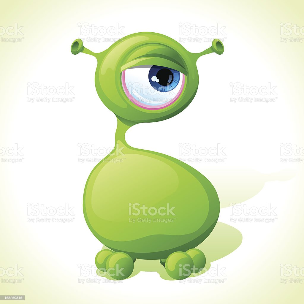 Vector cute green monster isolated on white background. royalty-free stock vector art