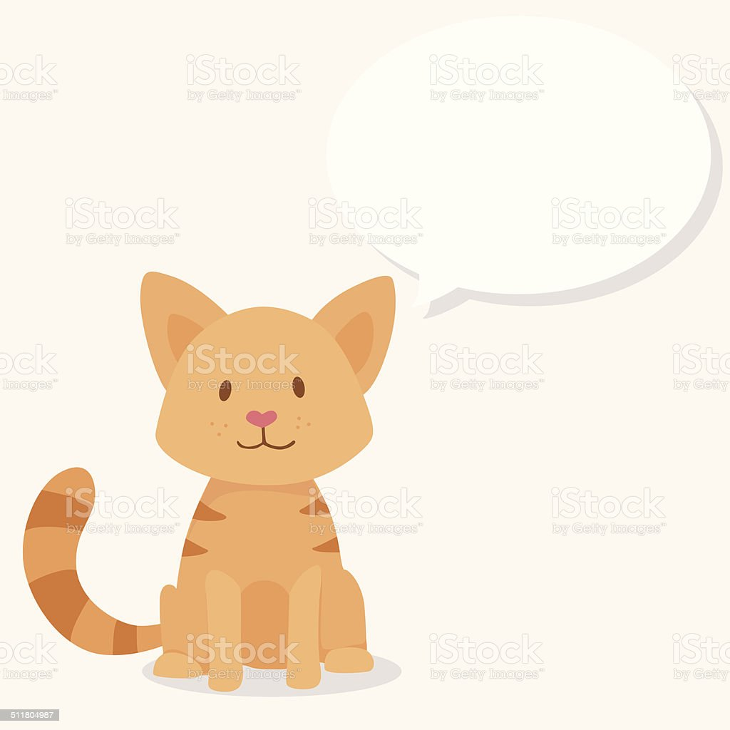 Vector cute happy red cat with text cloud vector art illustration