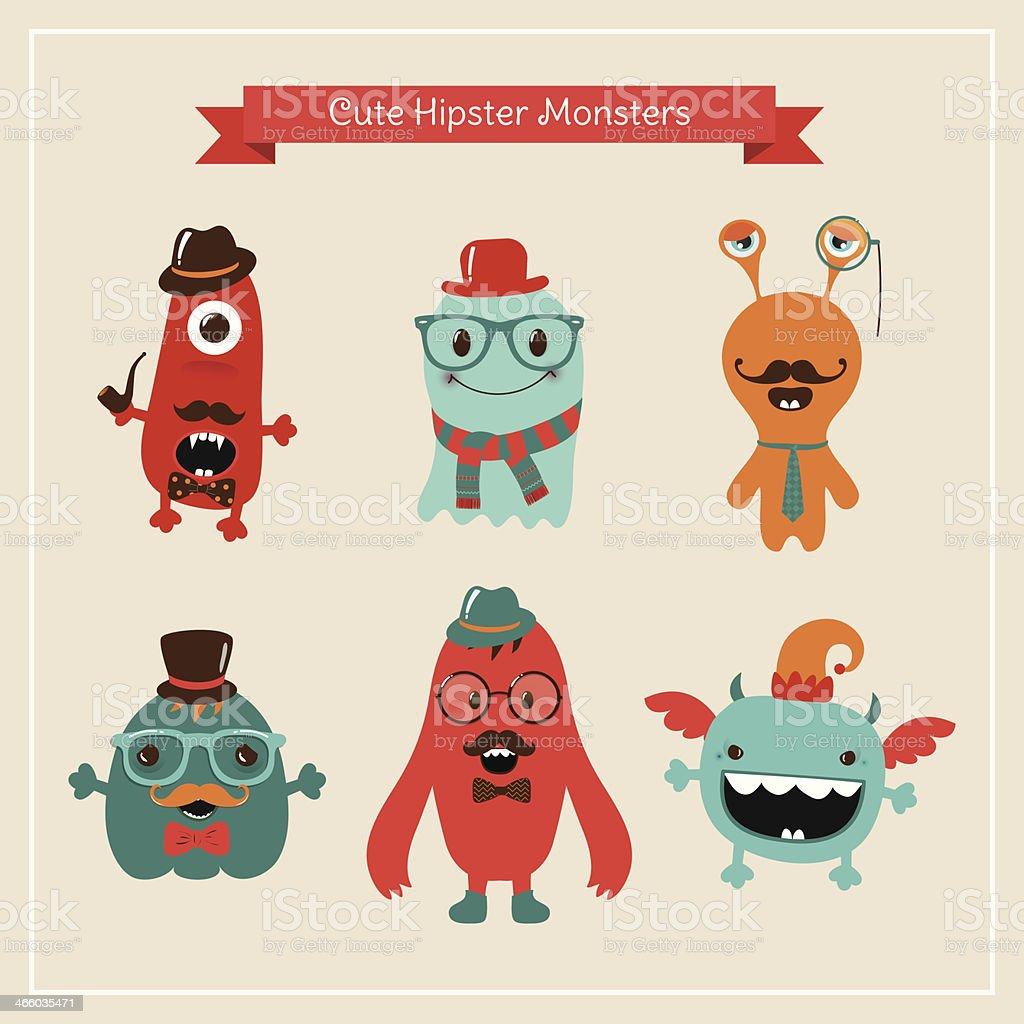 Vector Cute Retro Hipster Monsters Set vector art illustration