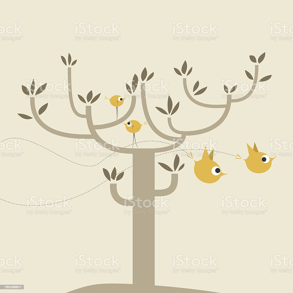 vector cute tree and birds background royalty-free stock vector art