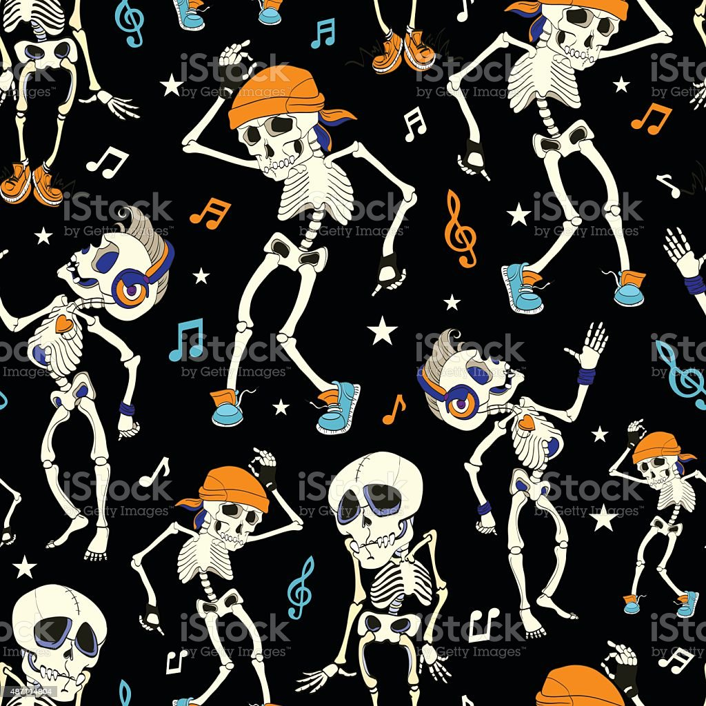 vector dancing skeletons party halloween seamless pattern music