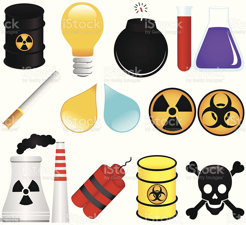 Vector: Dangerous Poison,Chemical,Pollution create global warming /Environmental Damage vector art illustration