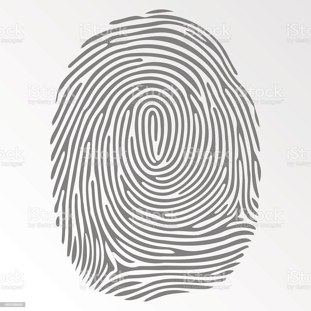 Vector dark fingerprint on gray background vector art illustration