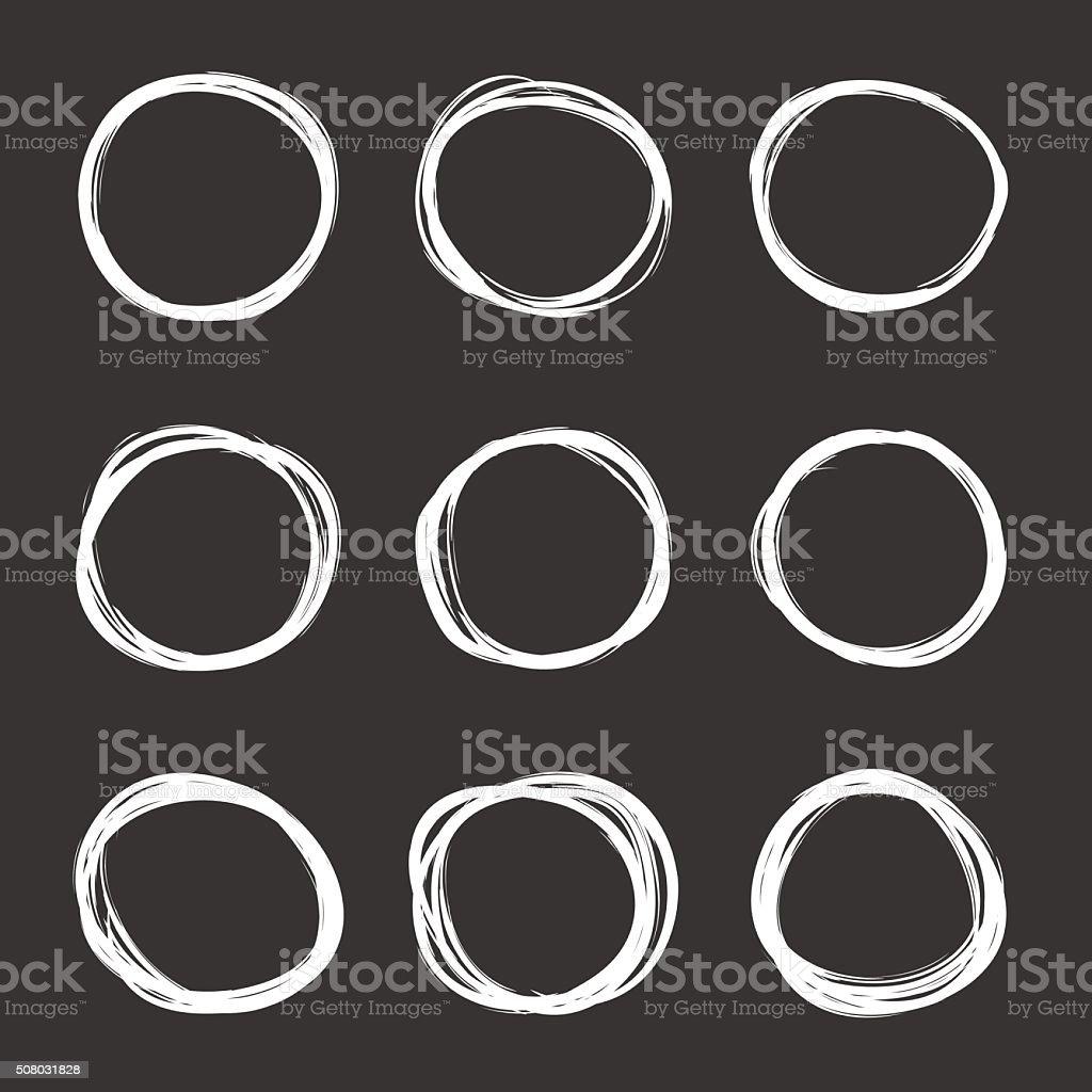 Vector dark set of hand drawn scribble circles vector art illustration
