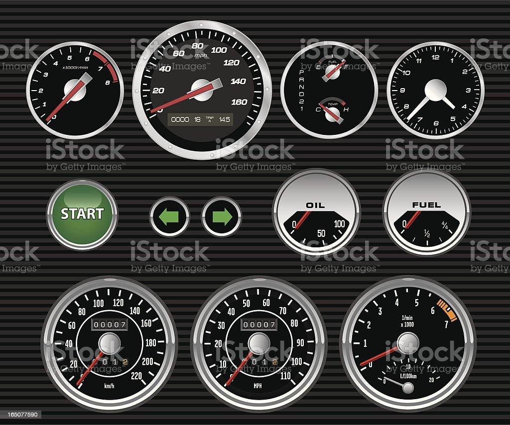 Vector Dashboard Dials royalty-free stock vector art