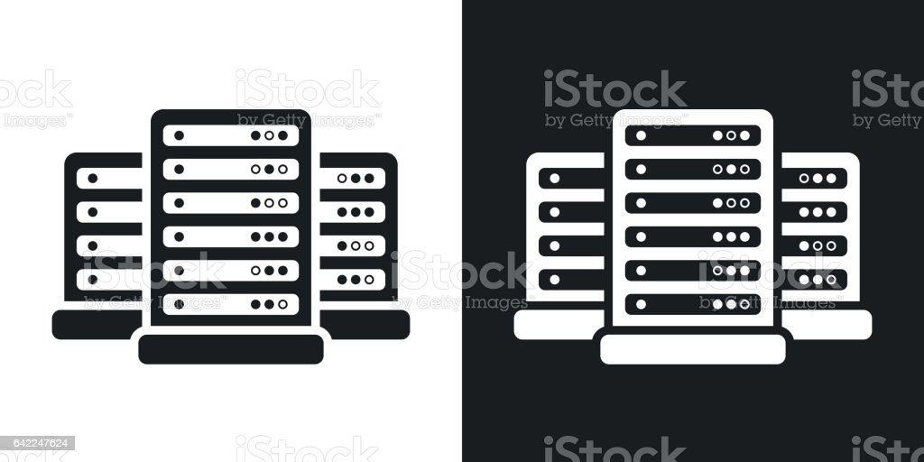 Vector data center icon. Two-tone version vector art illustration