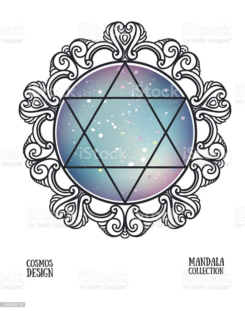Vector David star with space background and mandala frame. vector art illustration