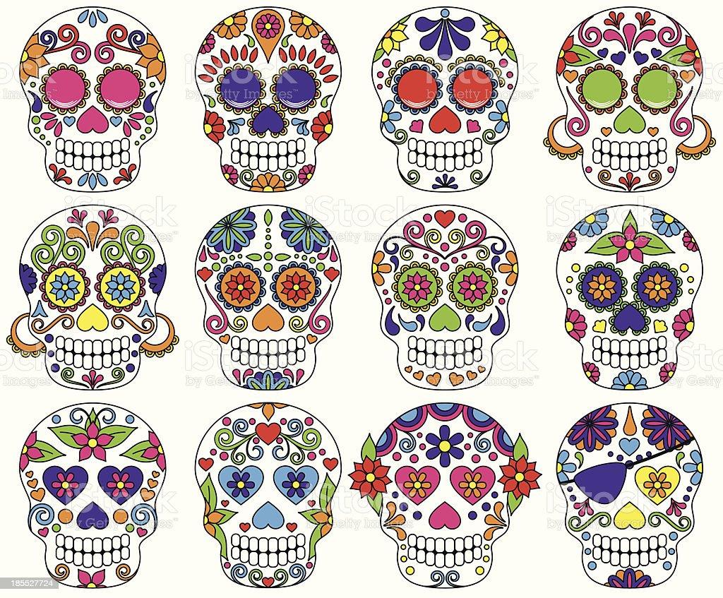 Vector Day of the Dead or Sugar Skulls vector art illustration