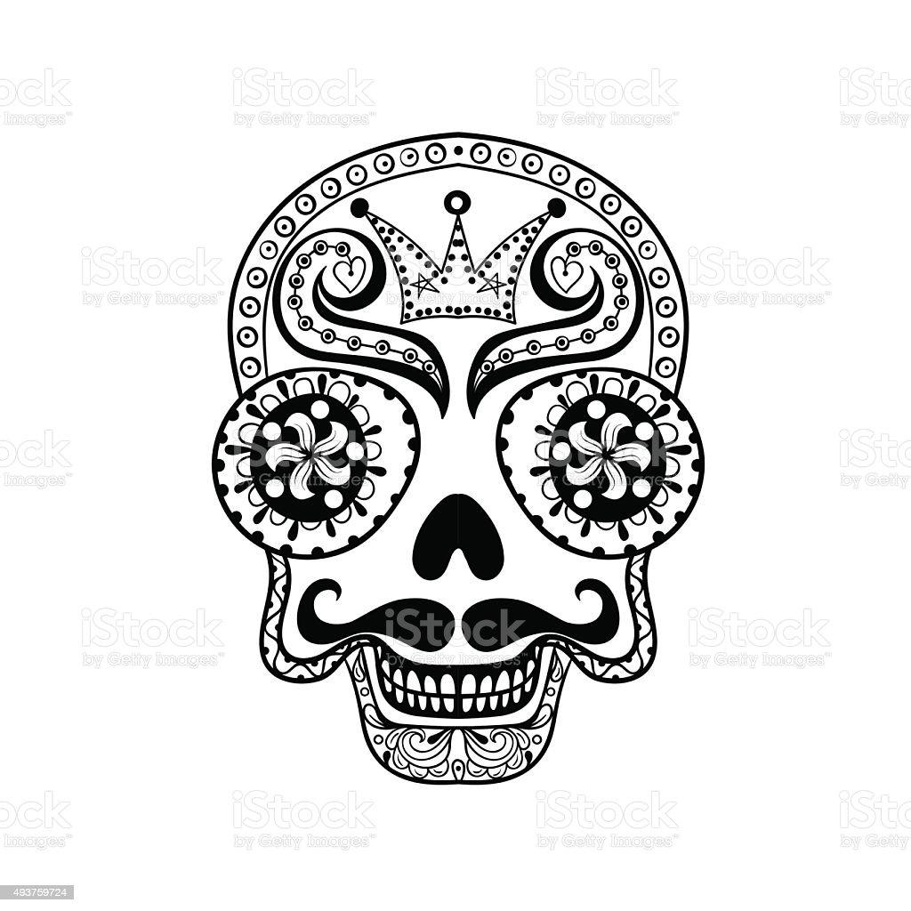 Vector  Dead Skull illustration, Hand drawn Skull in zentangle s vector art illustration