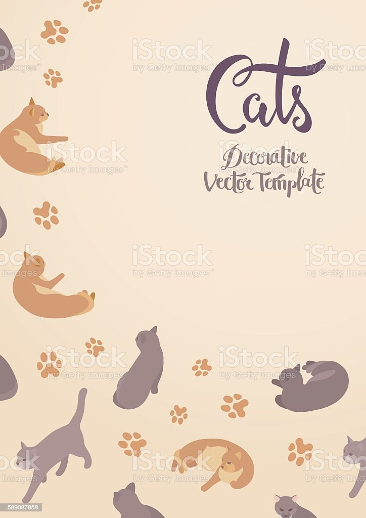 Vector decorating design with the cats. Colorful card template with...