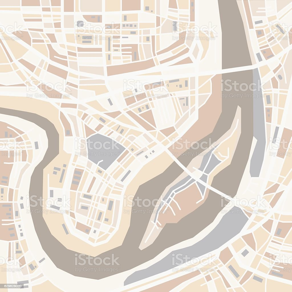 Vector decorative city map vector art illustration