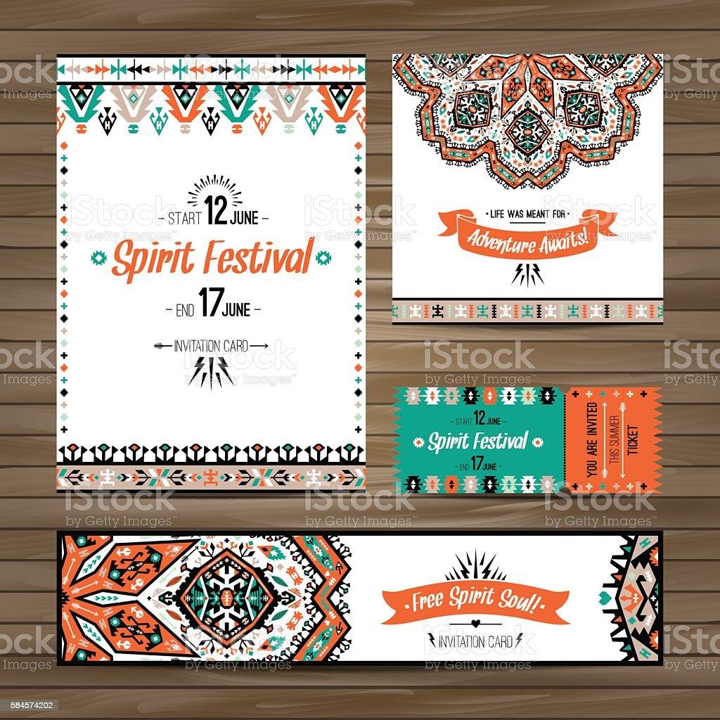 Vector decorative ethnic greeting card or invitation design background vector art illustration