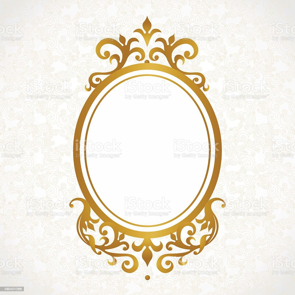 Vector decorative frame in Victorian style. vector art illustration