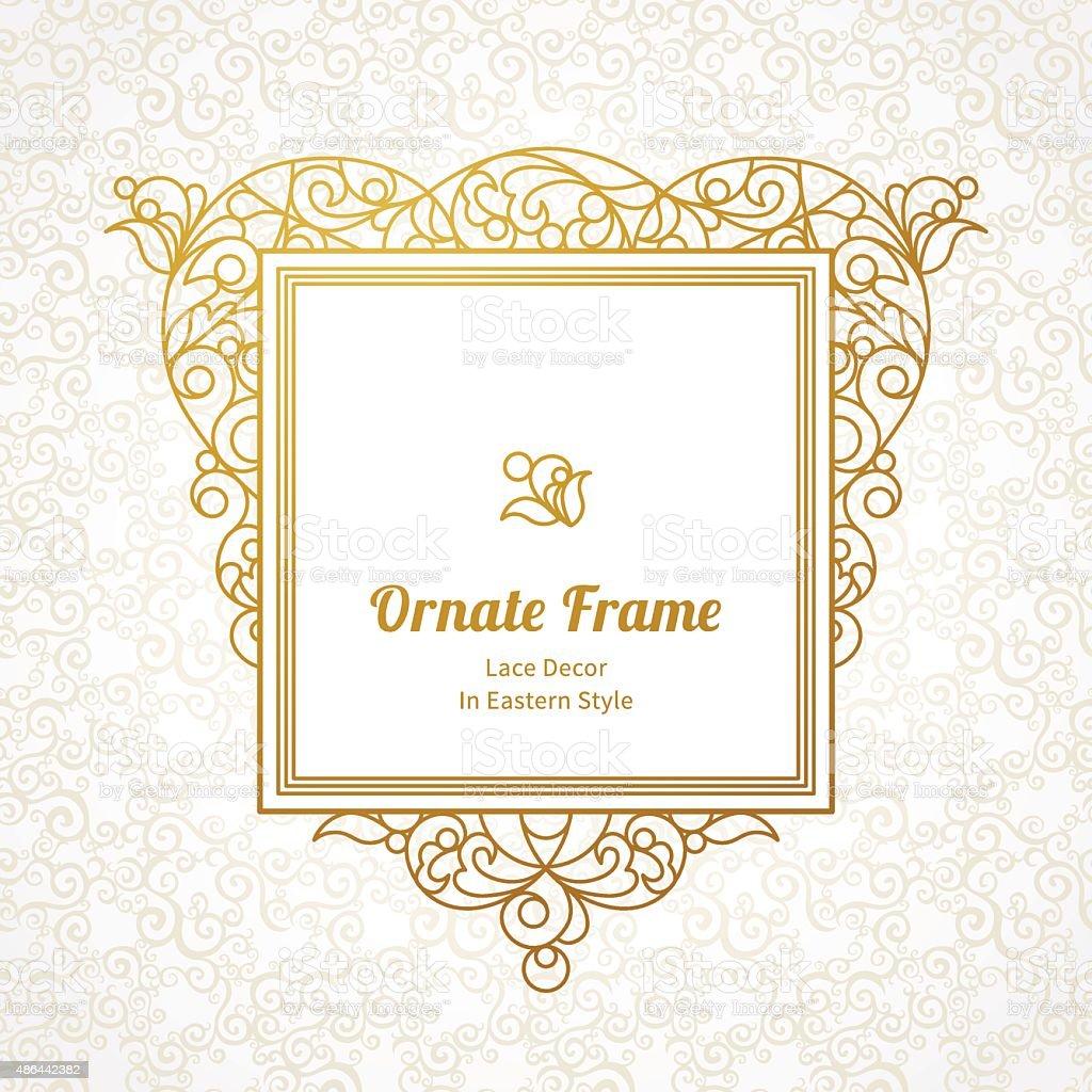 Vector decorative line art frame in Eastern style. vector art illustration