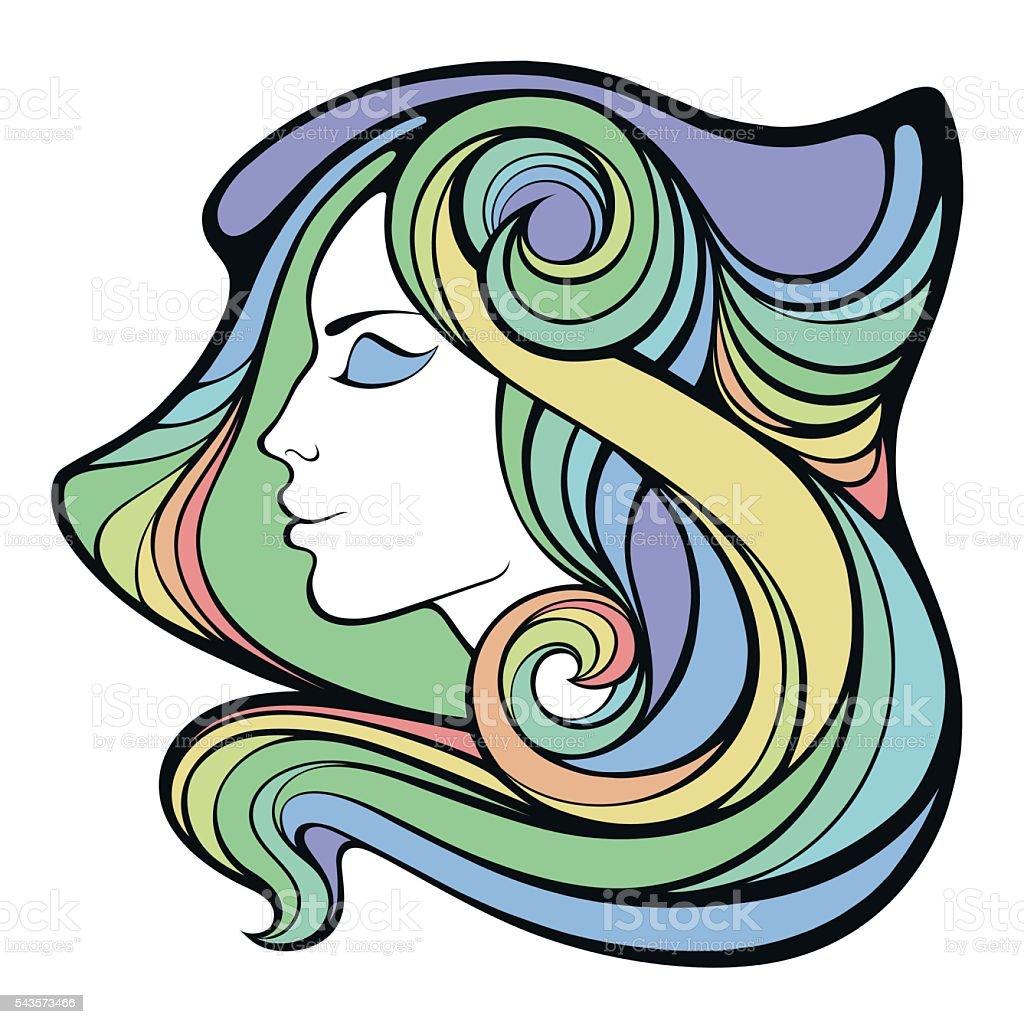 Vector decorative portrait of shaman girl with color long hair vector art illustration
