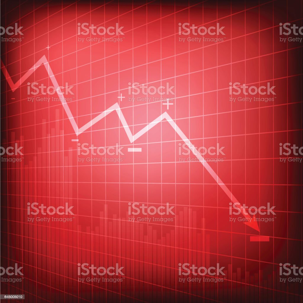 Vector : Decreasing business graph on red background vector art illustration