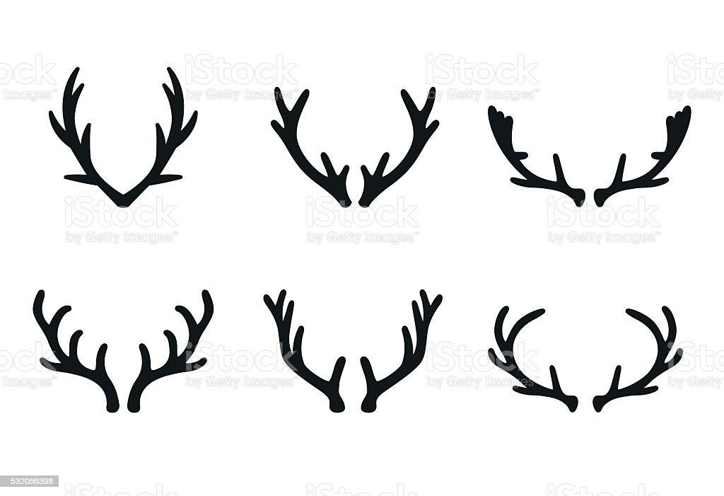 Vector deer antlers black icons set vector art illustration