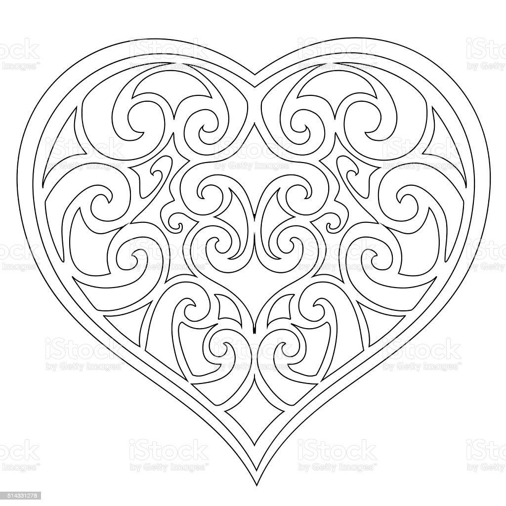 Vector delicate heart on a white background. vector art illustration