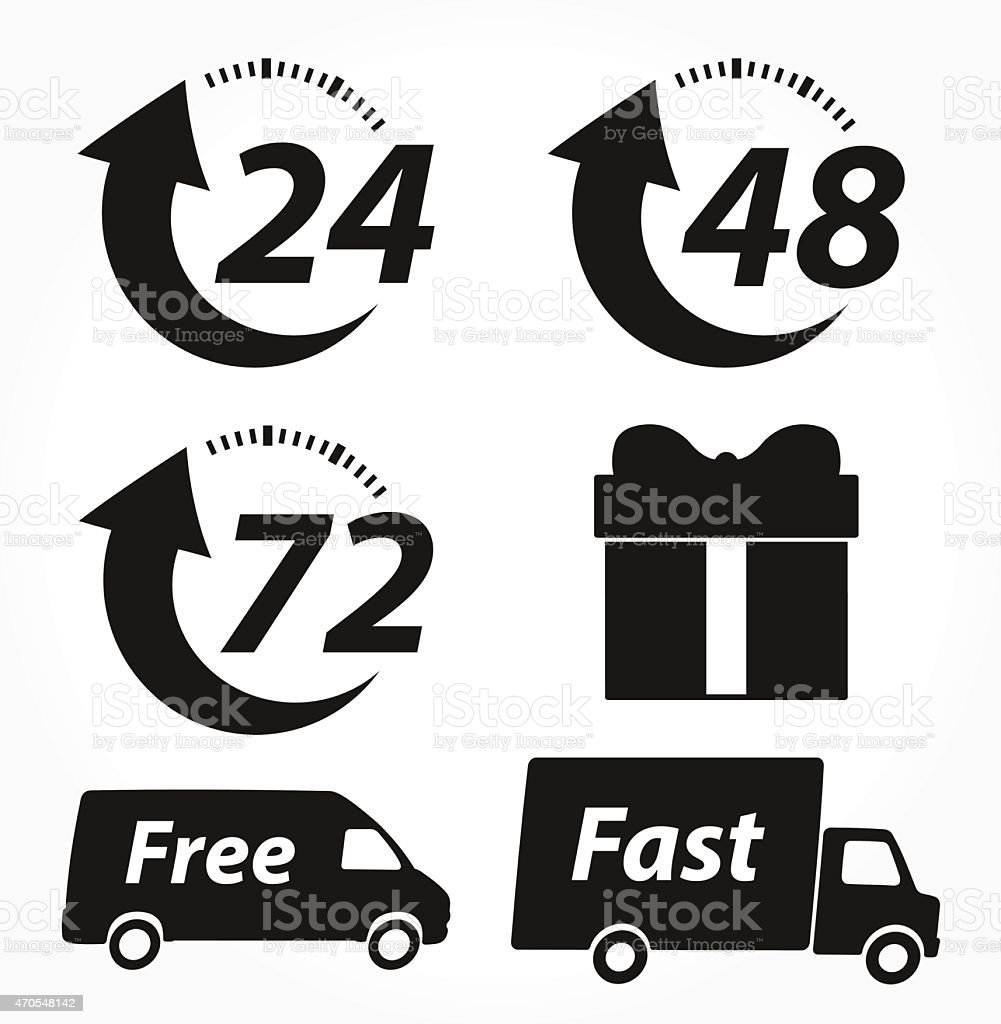 Vector Delivery Black Icons vector art illustration