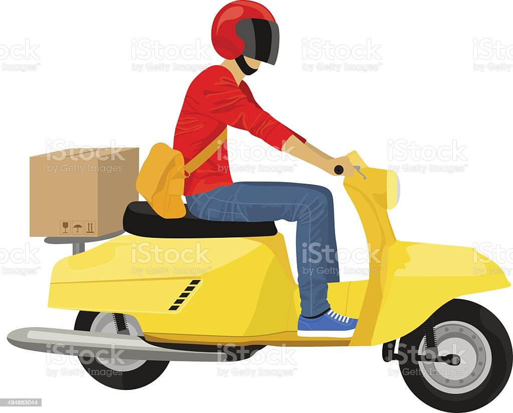 Vector delivery guy on a yellow scooter vector art illustration