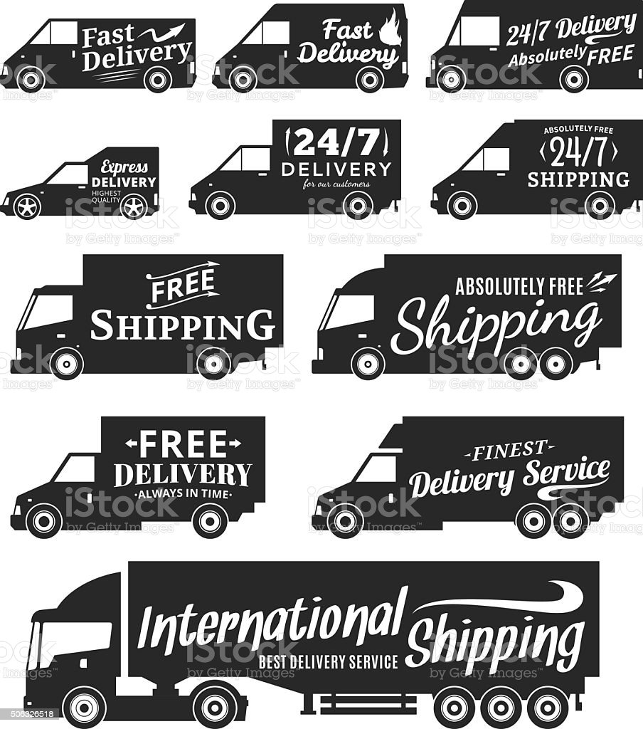 Vector delivery service labels, commercial vehicles and delivery cars icons vector art illustration
