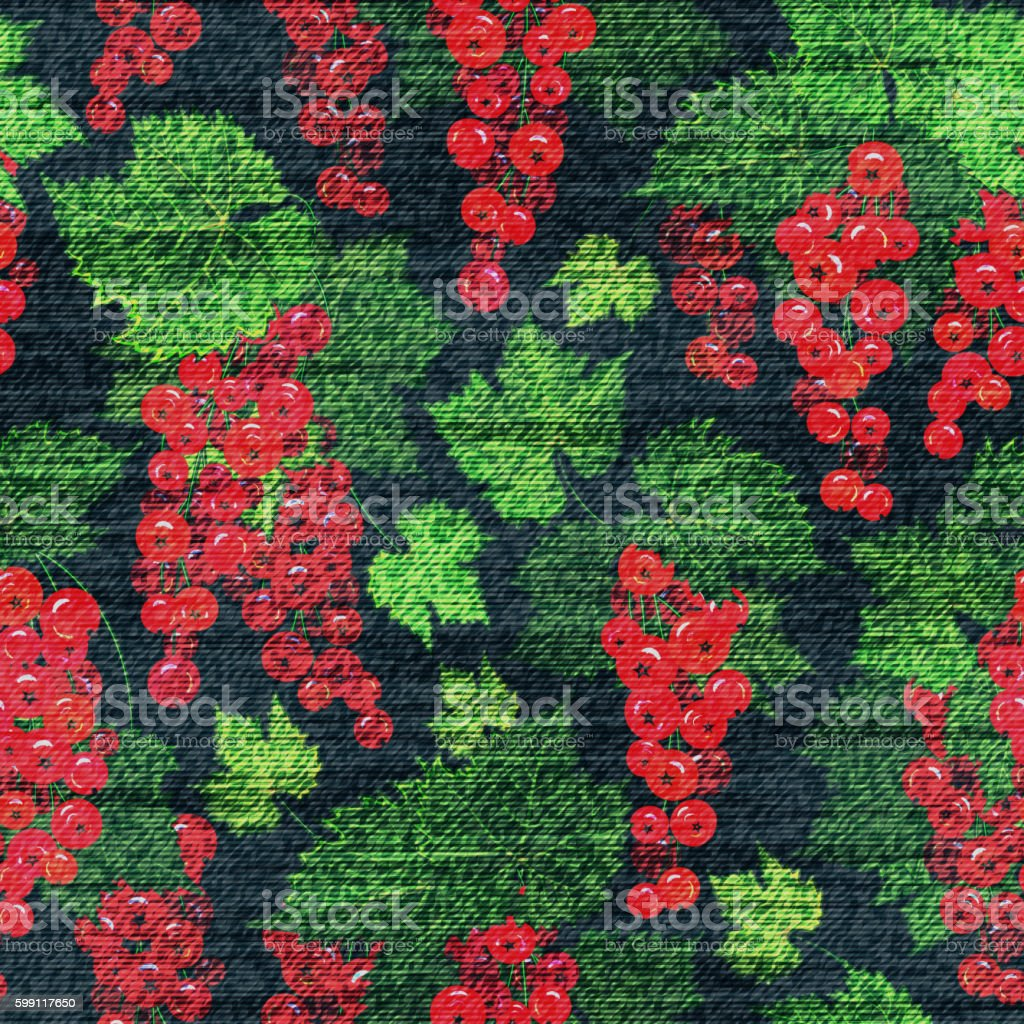 Vector Denim floral seamless pattern. Jeans background with Rose flowers vector art illustration