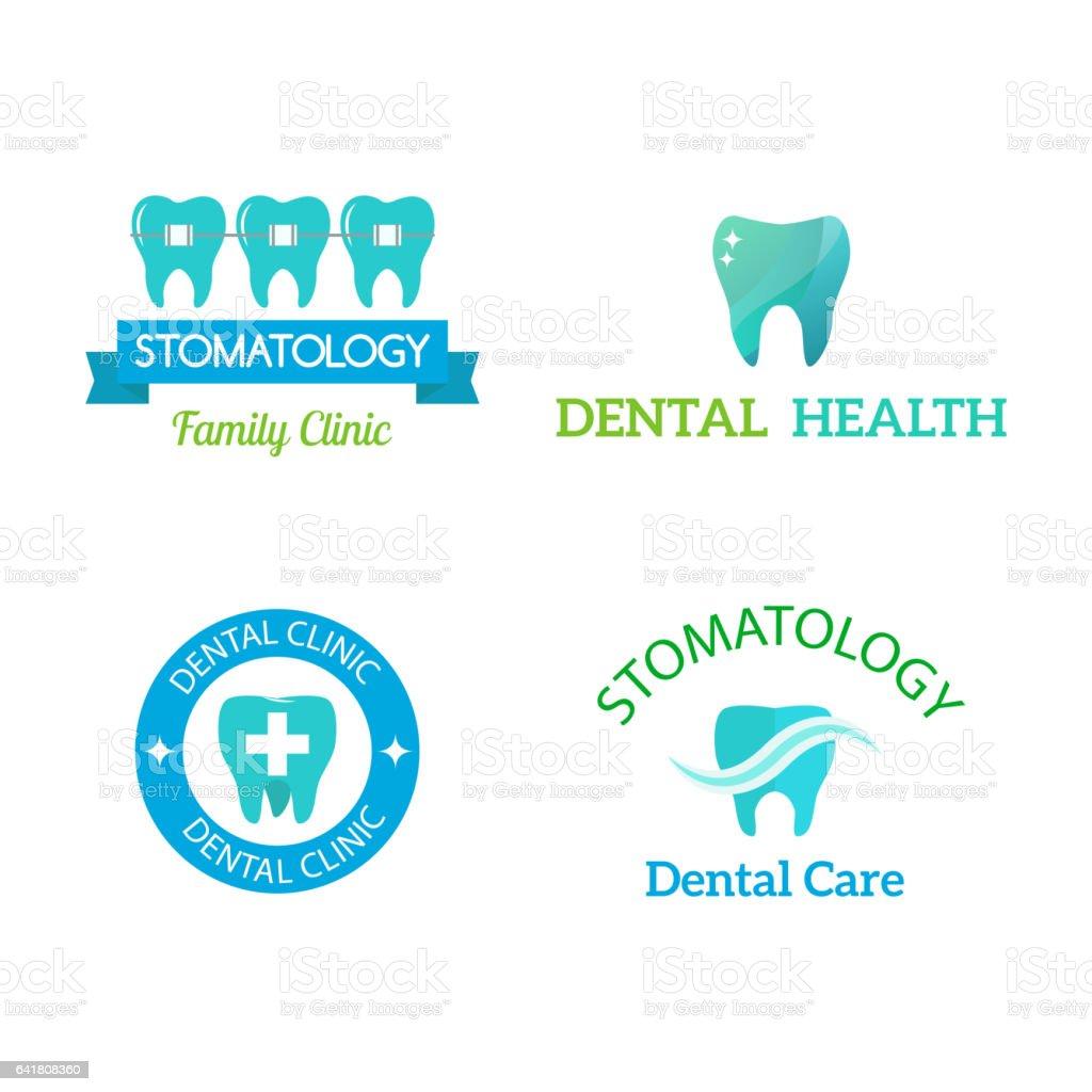 Vector dental stomatology clinic badge icon vector art illustration