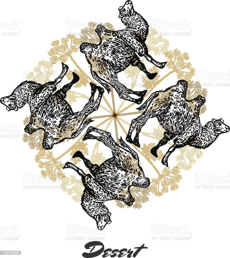 Vector Desert mood Engraved fractal outlet composition. vector art illustration