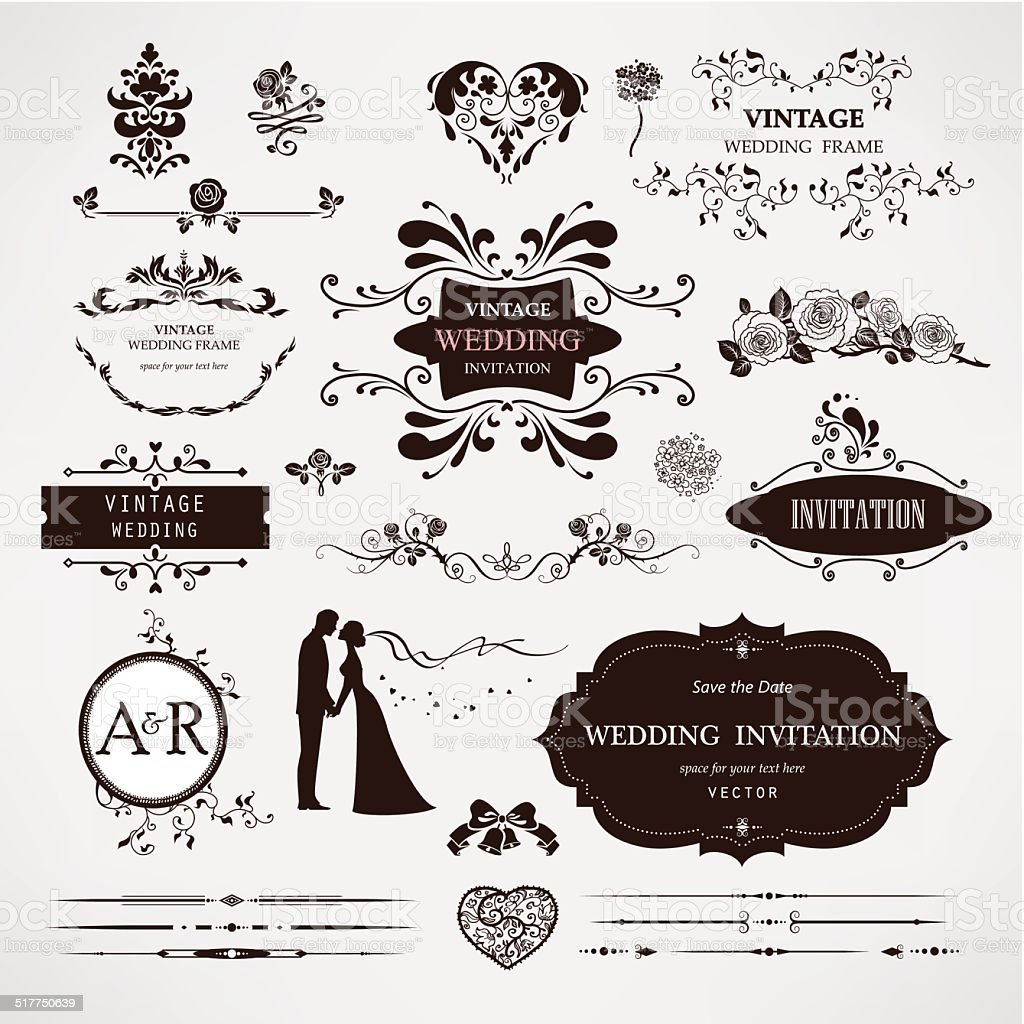 Vector design elements and calligraphic page decorations for wedding vector art illustration