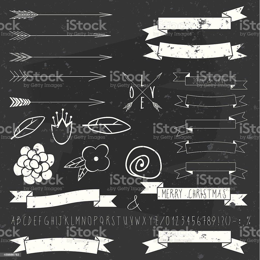 vector design elements on blackboard royalty-free stock vector art