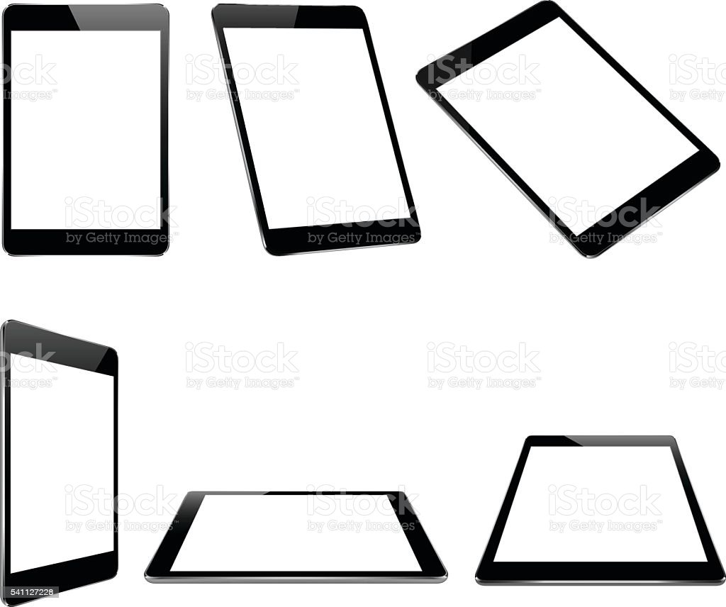 vector design, mock up black tablet isolated on white vector art illustration