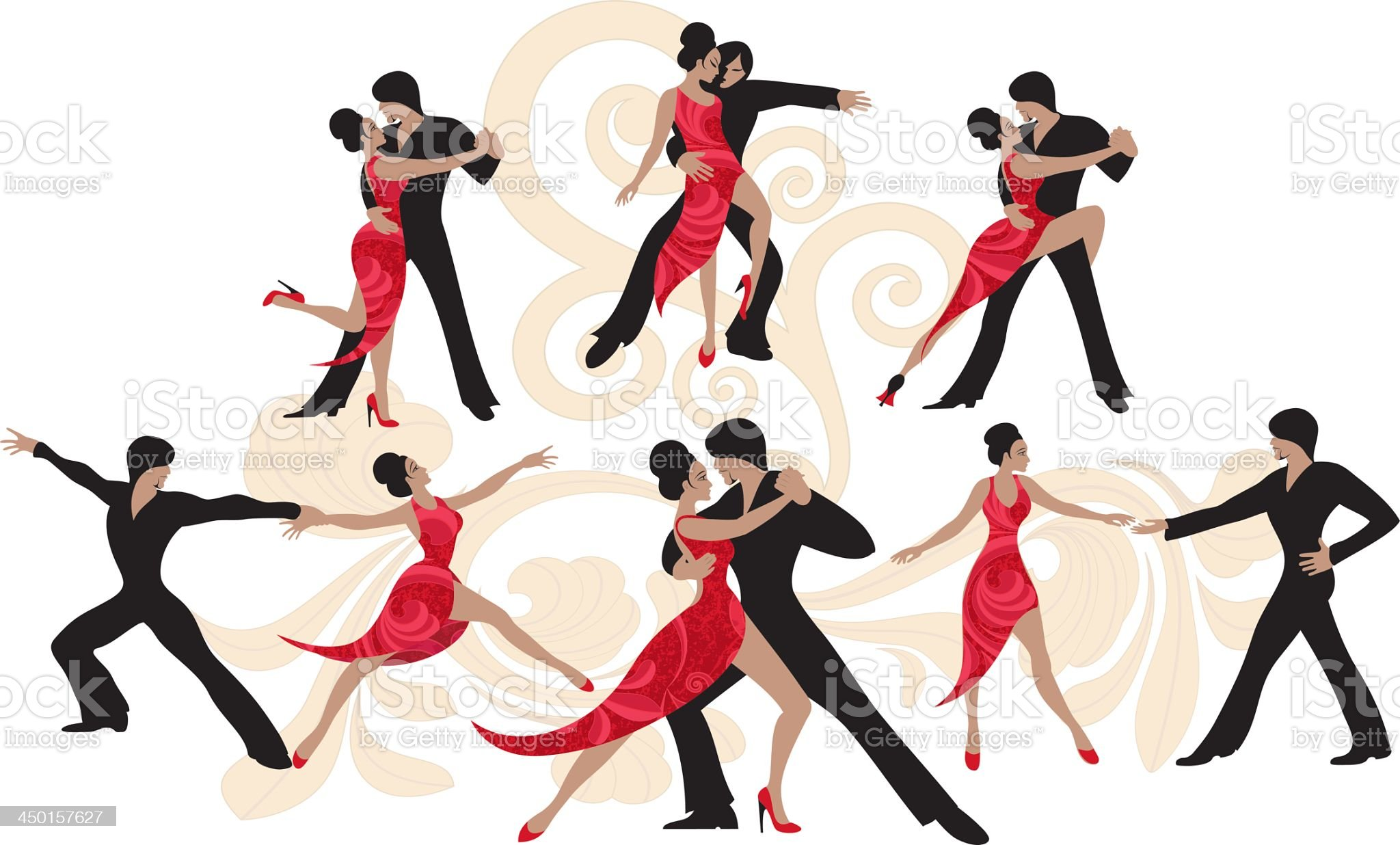 A vector design of a couple dancing on a white background royalty-free stock vector art