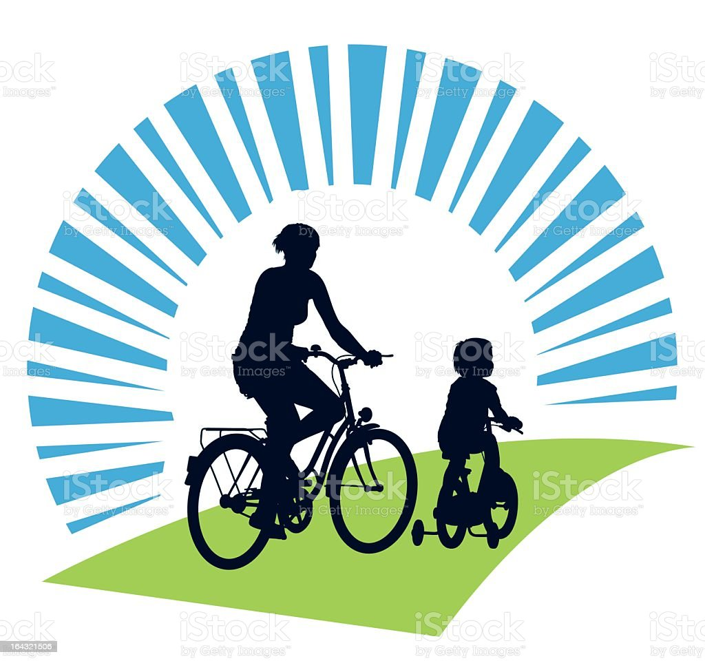 Vector design of a mother and child cycling on a summer trip royalty-free stock vector art