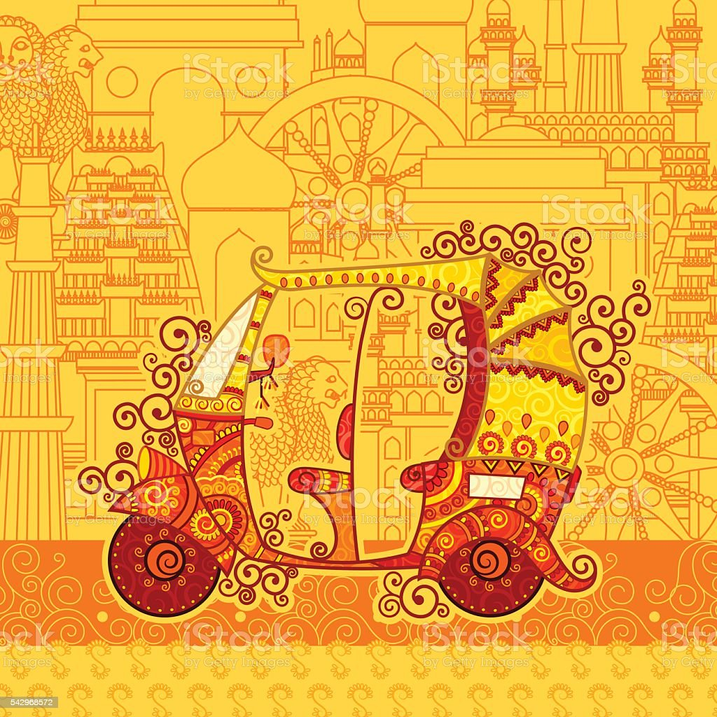 Vector design of auto rickshaw on famous monument backdrop vector art illustration