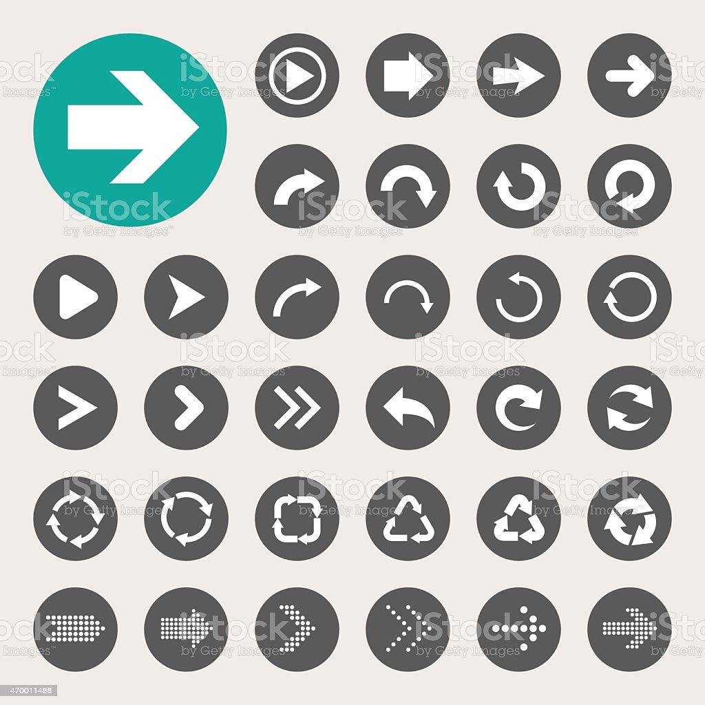 Vector design of basic arrow icons vector art illustration