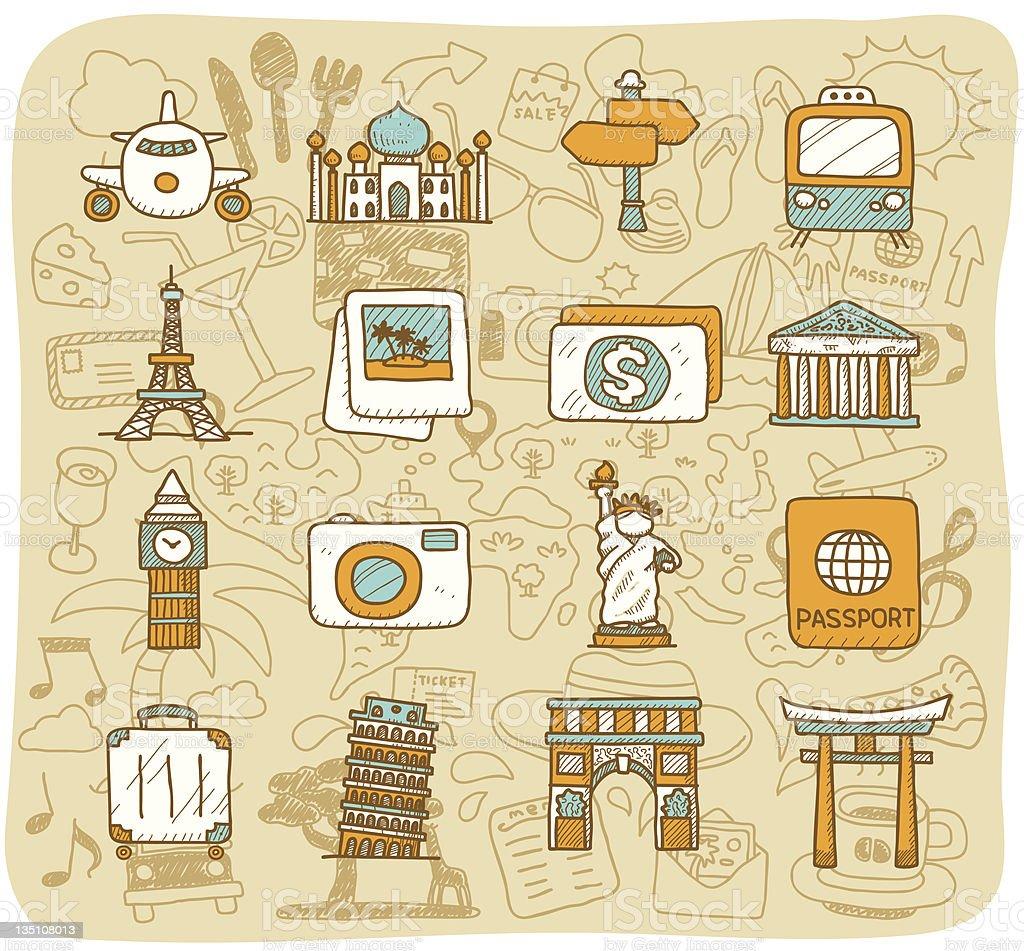Vector design of icons representing landmarks royalty-free stock vector art