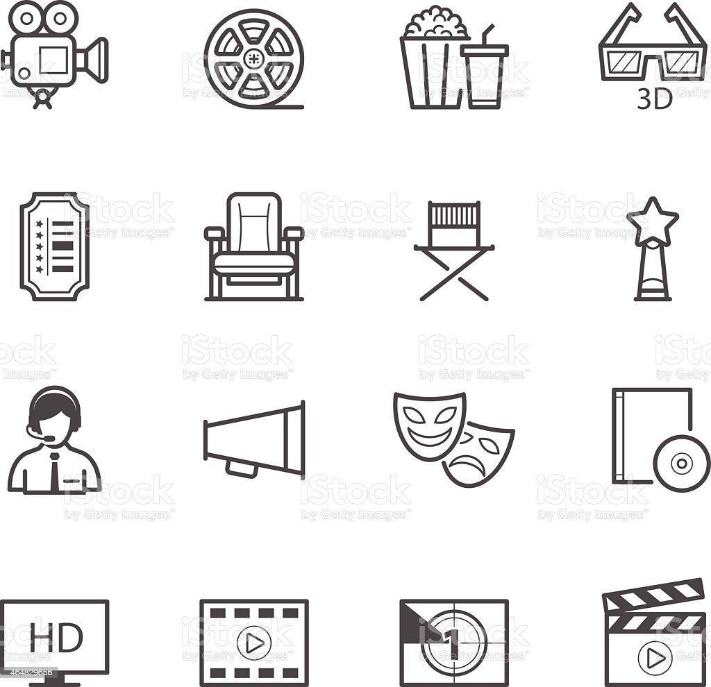 Vector design of movie icons on a white background vector art illustration