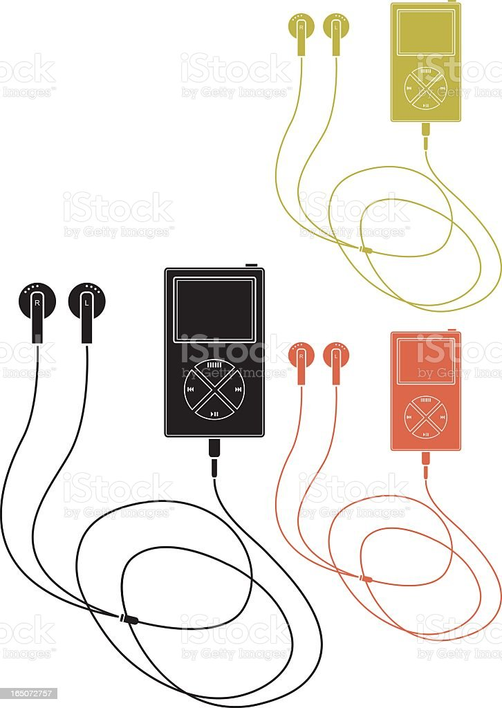 Vector design of multicolored MP3 players royalty-free stock vector art