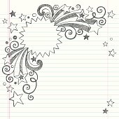 Vector design of starburst frame notebook drawing