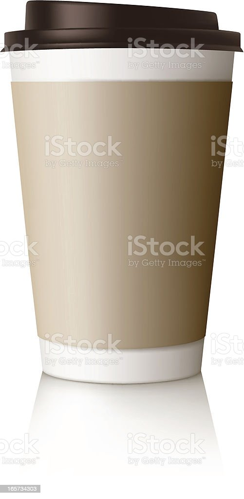 Vector design of takeaway coffee cup with lid vector art illustration