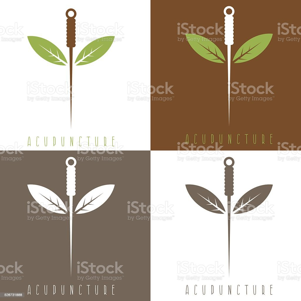 Vector design template of acupuncture needle and leaves vector art illustration