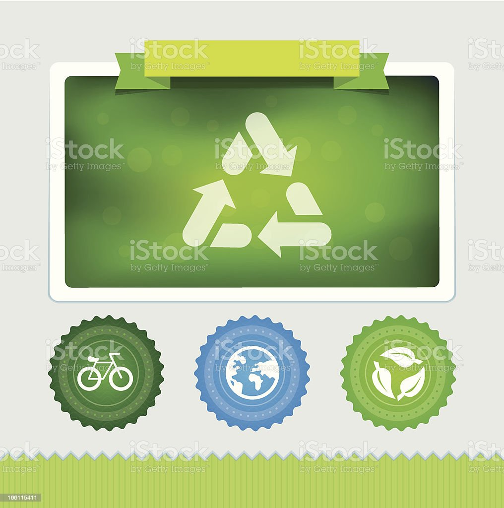 Vector design template with ecology icons and signs vector art illustration