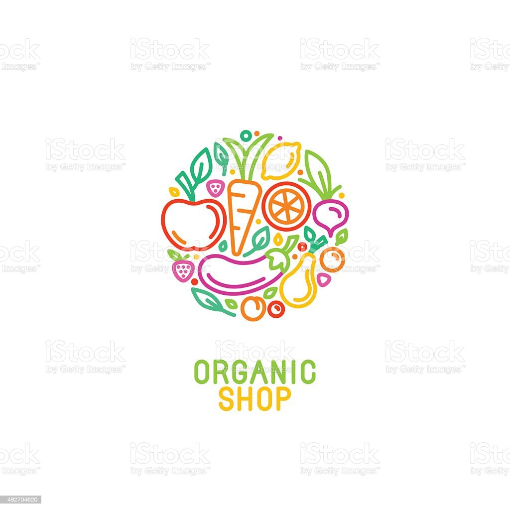 Vector design template with fruit and vegetable icons vector art illustration