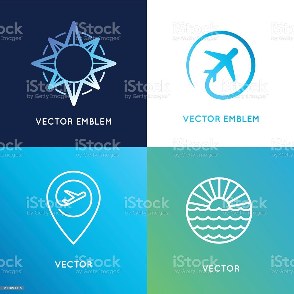 Vector design templates in trendy linear style with icons vector art illustration