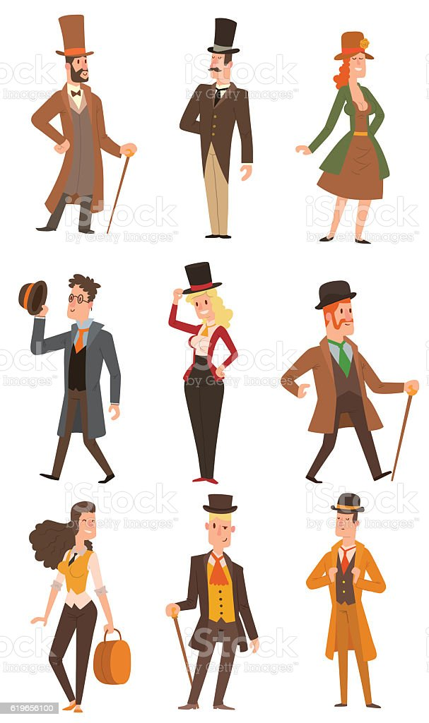 Vector design victorian people. vector art illustration