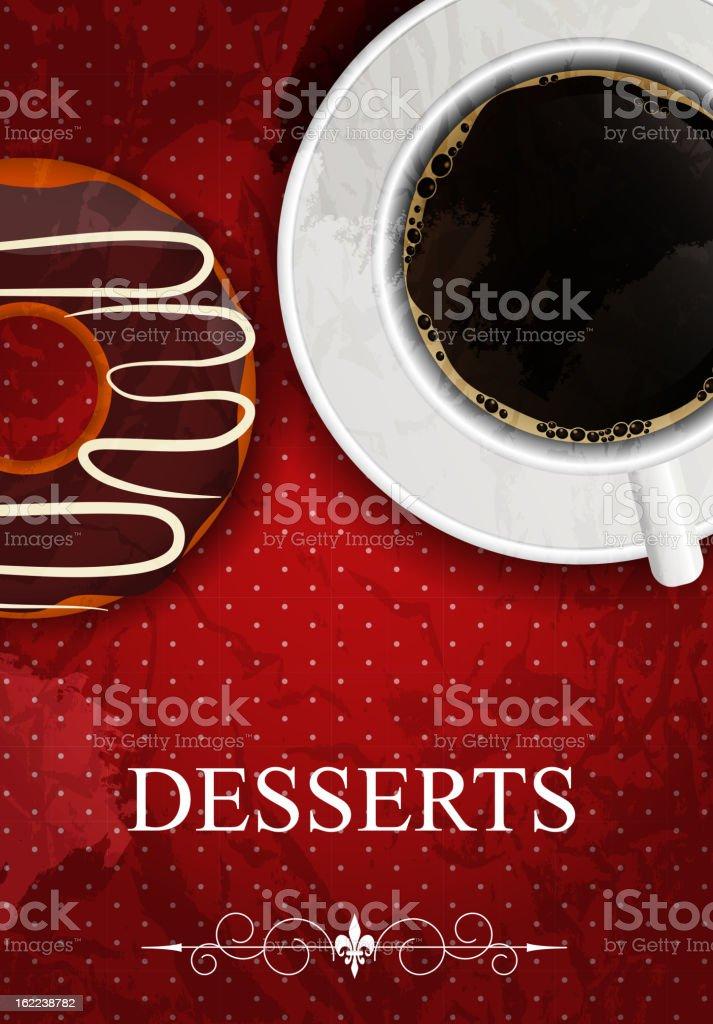 Vector dessert menu in grunge vintage style royalty-free stock vector art