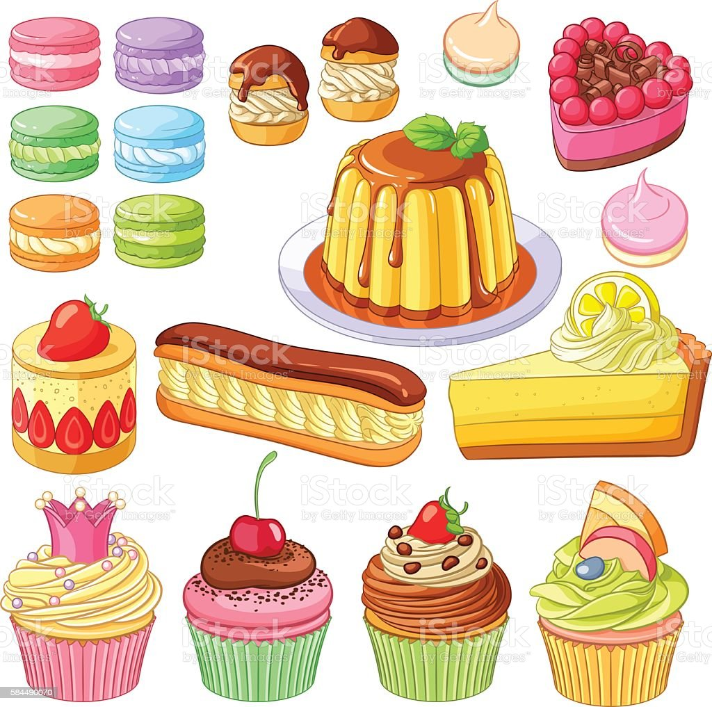 Vector desserts macaroons, profiteroles, pies, eclair, lemon cake, cupcakes vector art illustration